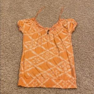 Lucky Brand Coral top with wood buttons